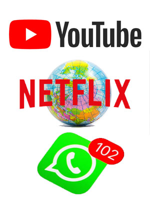 youtube netflix whatsapp